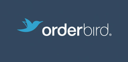 Full-color logo on orderbird-blue