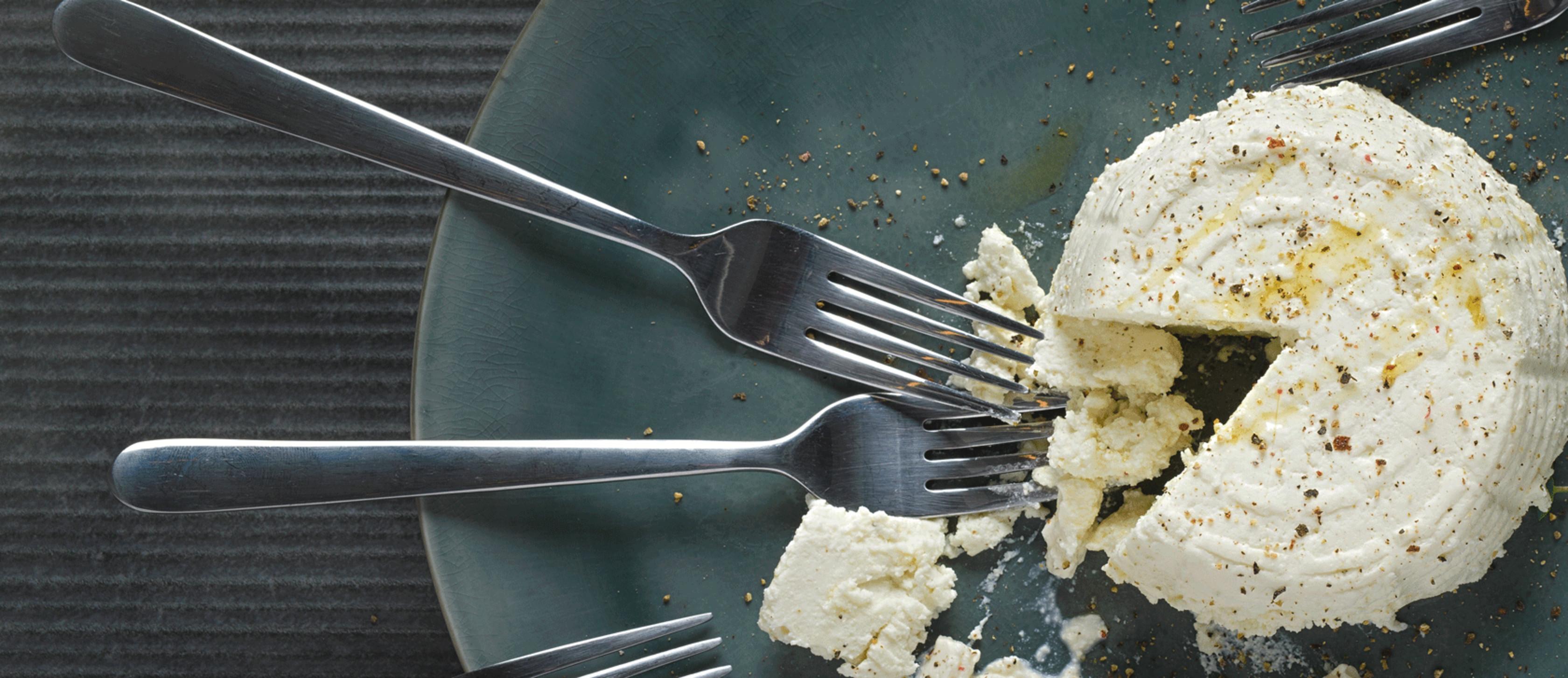 Käse mit Gabeln auf einem Teller