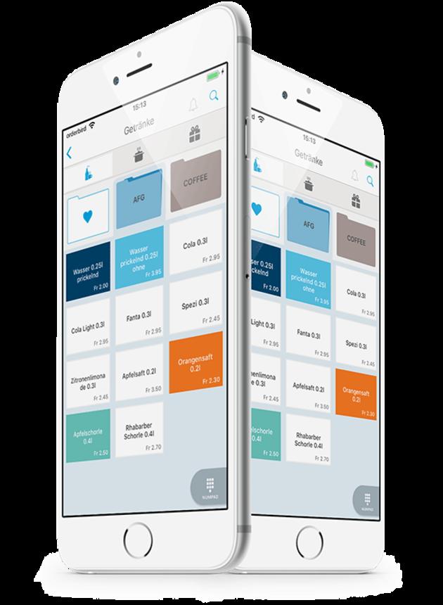 2 iPhones mit der orderbird-App zum Funkbonieren
