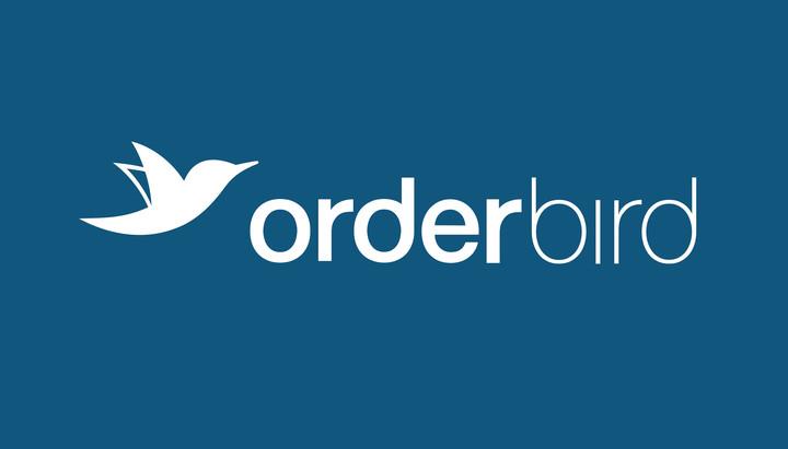orderbird Vollfarb Logo auf Blau