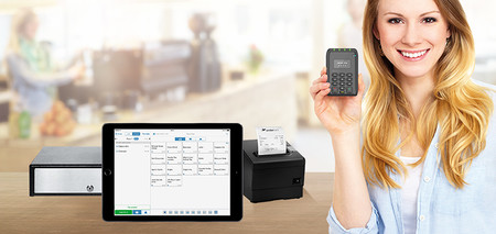 iPad POS with receipt printer and card reader